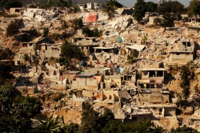 Earthquake in Haiti causes immense damage to buildings on hillside