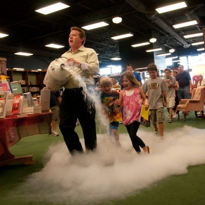 Steve Spangler's grand entrance into the Naked Eggs and Flying Potatoes book signing at Tattered Cover Highlands Ranch