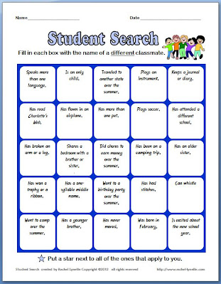 Student Search Ice Breaker Worksheet