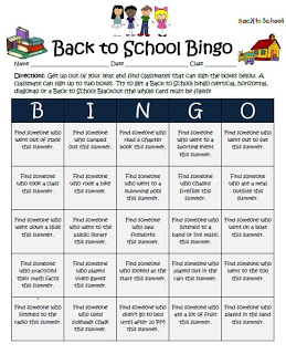 Back to School Tips for Teachers to Welcome them back to the classroom. Class Bingo