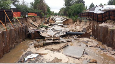 The Science Behind 100-Year Floods - Flooding in canal in Aurora, Colorado