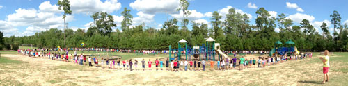 The students at Tough Elementary in Texas broke the World Record for longest human electrical circuit