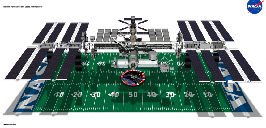 ISS Size Compared to a Football Field - Courtesy NASA