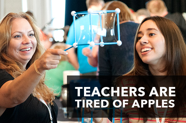 Teacher Appreciation - Teachers are Tired of Apples. Inexpensive ways to show your teacher love.