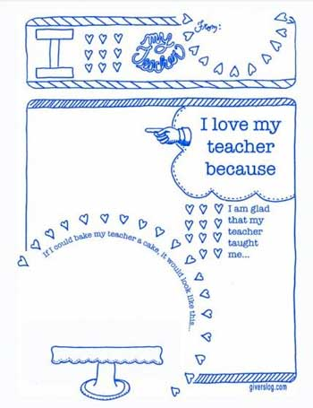 Teacher Appreciation - I Love My Teacher from Giver's Log