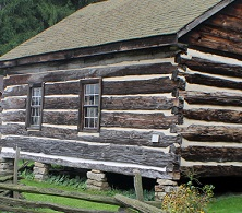 log cabin with greased windows