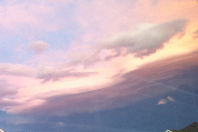 Wall clouds during sunset.
