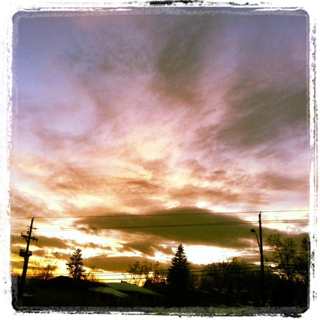 My Instagram-ed photo ofLenticular Clouds at sunset just outside the Spangler Office.