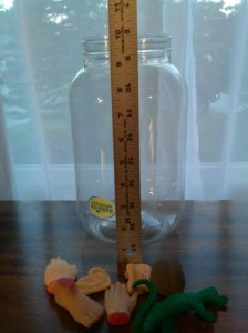 You can see how tall the jar is, and how the polymer body parts compare to it.