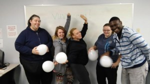Pamela, Kendra, Raven, Chelsea, and Andre having fun with their Screaming Balloons in French Lick!