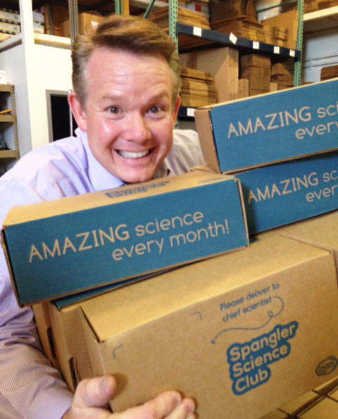 Steve is very excited to ship the first round of the official Spangler Science Club kits to hundreds of members