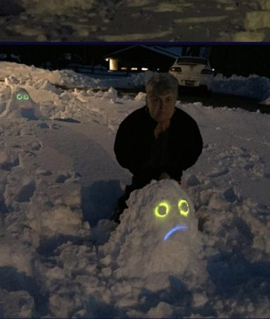 Mrs. Cobb's mother likes to make snow monsters, too!