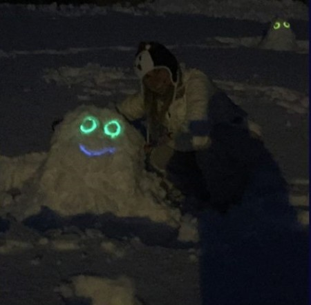 Mrs. Cobb and one of her Snow Monsters