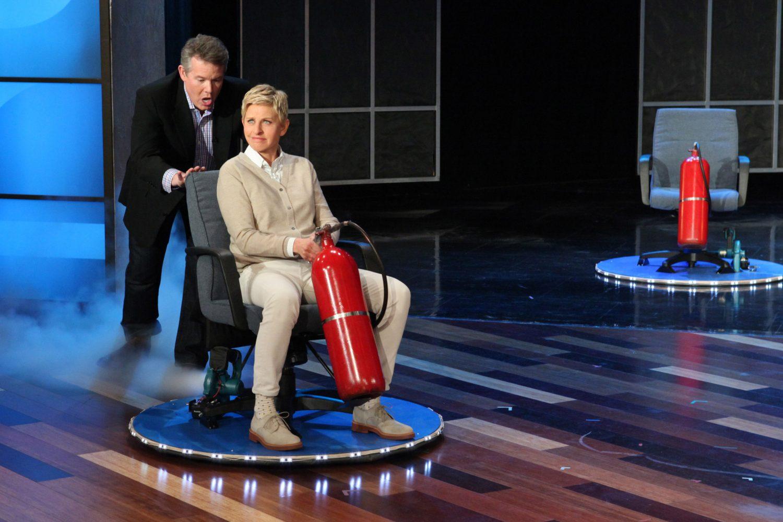 Steve Pushing Ellen on a Hovercraft on The Ellen Show