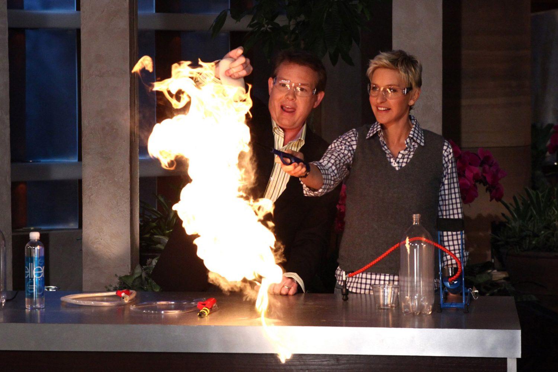 Steve lighting a Fire on The Ellen Show