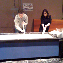 Carly Reed and Steve Spangler mixing and testing the cornstarch goo backstage before The Ellen DeGeneres Show
