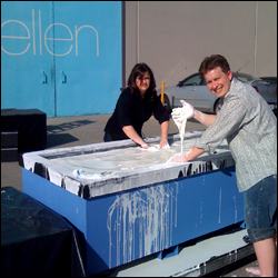 Jeff Brooks and Carly Reed —what a mess! —testing and mixing cornstarch before The Ellen DeGeneres Show
