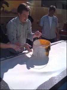 Jeff Brooks mixing cornstarch for The Ellen DeGeneres Show
