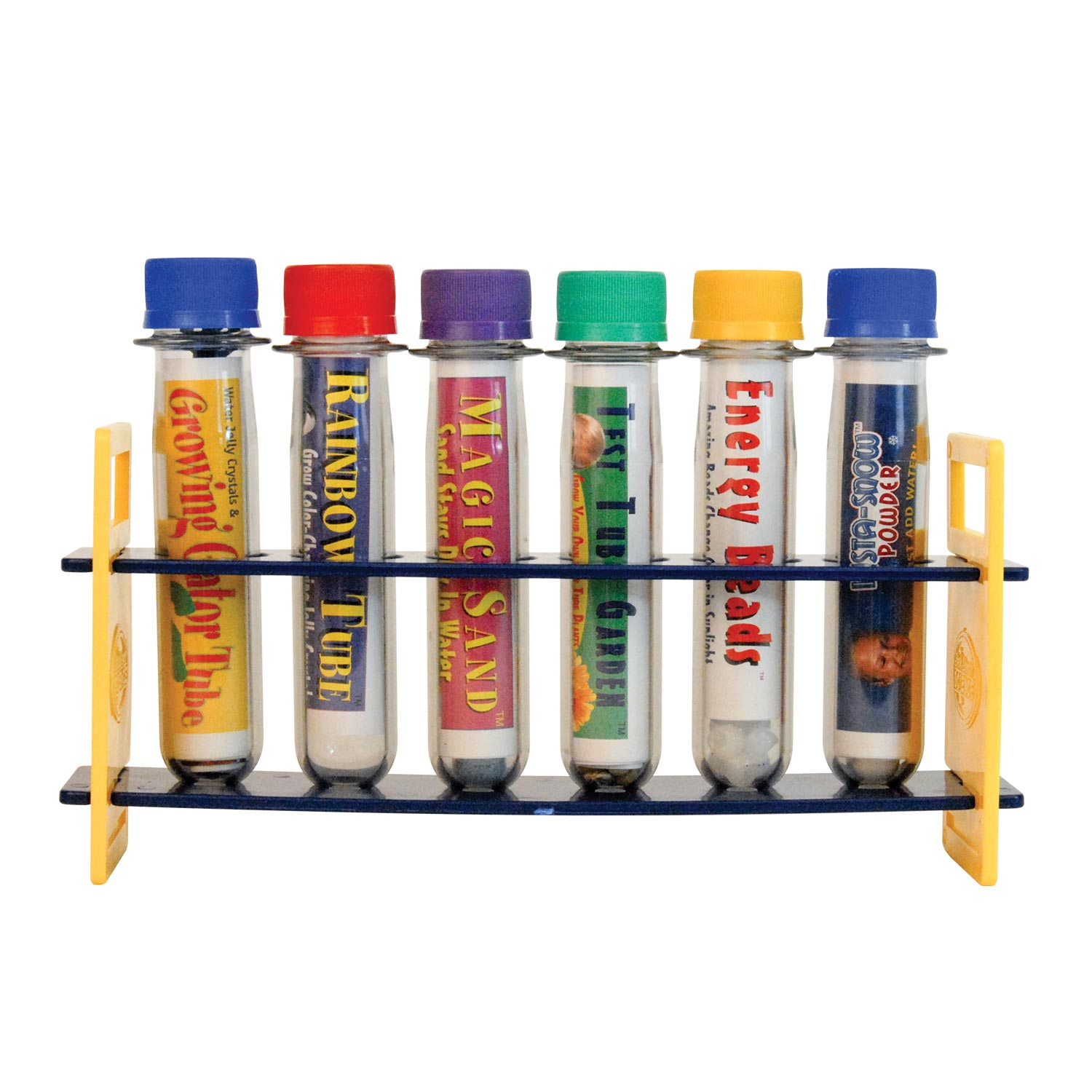 Six Test Tube Experiments in a Rack