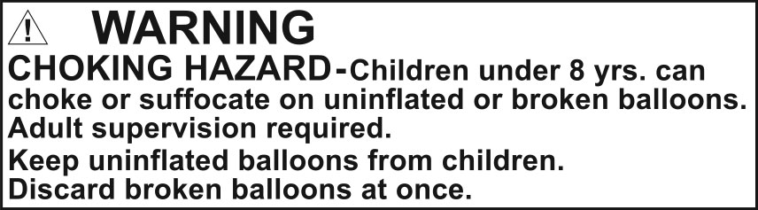 Warning - Balloons - Choking Hazard